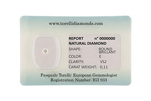 Torelli Diamant zertifiziert von Blister Investment | Heller Schnitt Farbe und Reinheit VS2, Gewicht 0.11 Karat | Natürliche Diamanten IGI Antwerpen Zertifizierung