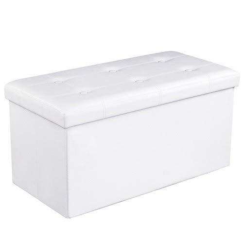 SONGMICS Sitzhocker Sitzbank mit Stauraum faltbar 2-Sitzer belastbar bis 300 kg Kunstleder, weiß, 76 x 38 x 38 cm LSF106